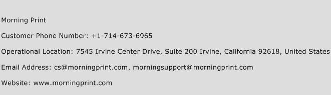 Morning Print Phone Number Customer Service