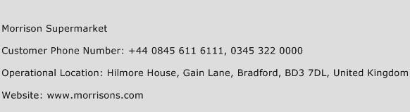 Morrison Supermarket Phone Number Customer Service