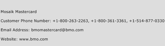 Mosaik Mastercard Phone Number Customer Service