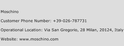 Moschino Phone Number Customer Service
