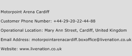 Motorpoint Arena Cardiff Phone Number Customer Service