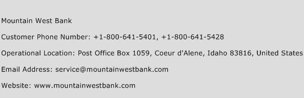Mountain West Bank Phone Number Customer Service