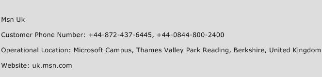 Msn Uk Phone Number Customer Service