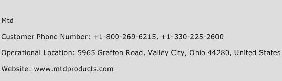 Mtd Phone Number Customer Service