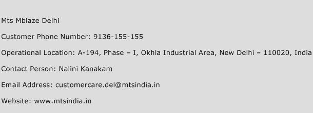 Mts Mblaze Delhi Phone Number Customer Service