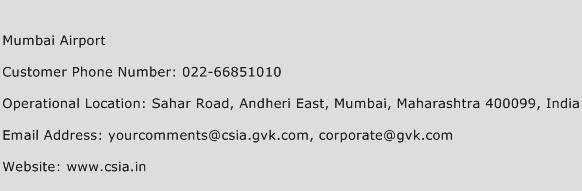 Mumbai Airport Phone Number Customer Service