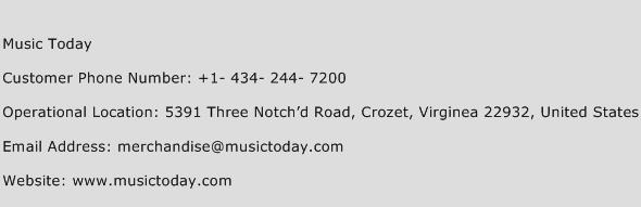Music Today Phone Number Customer Service