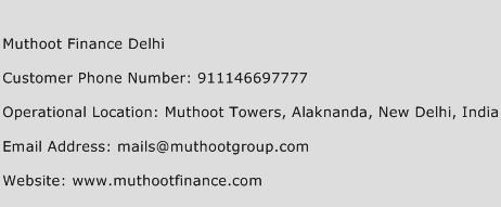 Muthoot Finance Delhi Phone Number Customer Service