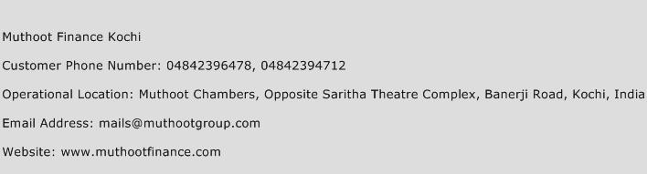 Muthoot Finance Kochi Phone Number Customer Service
