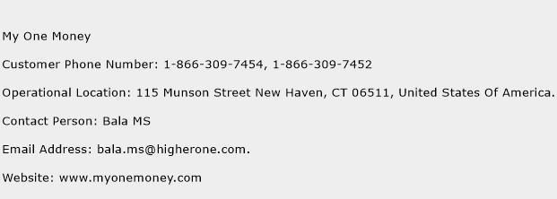 My One Money Phone Number Customer Service