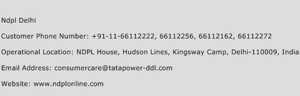 NDPL Delhi Phone Number Customer Service