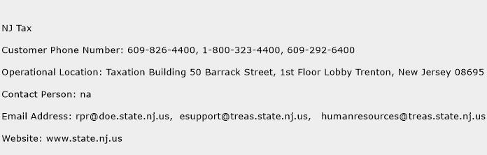 NJ Tax Phone Number Customer Service