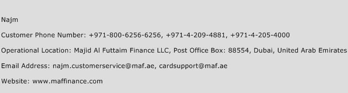 Najm Phone Number Customer Service