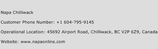 Napa Chilliwack Phone Number Customer Service