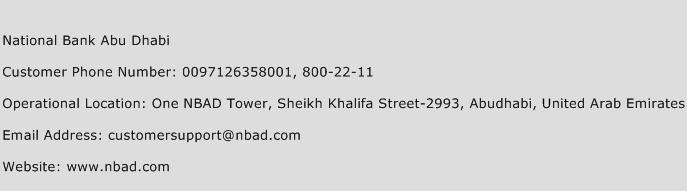 National Bank Abu Dhabi Phone Number Customer Service