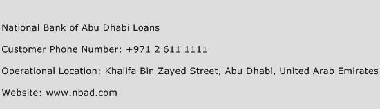 National Bank of Abu Dhabi Loans Phone Number Customer Service