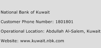 National Bank of Kuwait Phone Number Customer Service