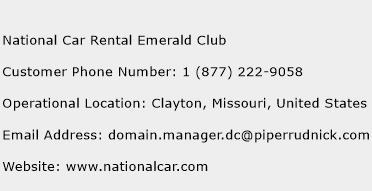 National Car Rental Emerald Club Phone Number Customer Service
