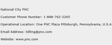 National City PNC Phone Number Customer Service