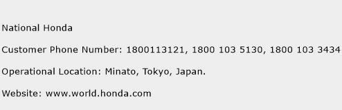National Honda Phone Number Customer Service