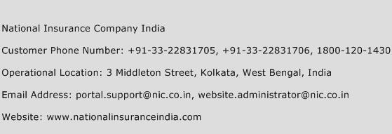 National Insurance Company India Phone Number Customer Service