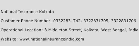 National Insurance Kolkata Phone Number Customer Service
