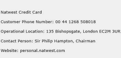 Natwest Credit Card Phone Number Customer Service