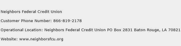 Neighbors Federal Credit Union Phone Number Customer Service