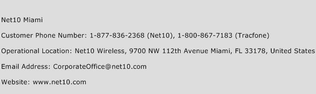 Net10 Miami Phone Number Customer Service