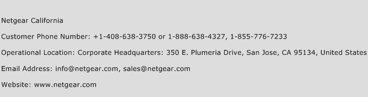 Netgear California Phone Number Customer Service