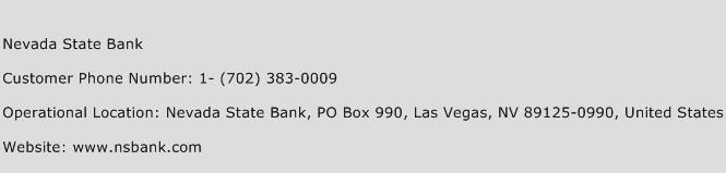 Nevada State Bank Phone Number Customer Service
