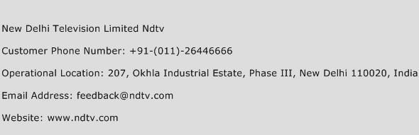 New Delhi Television Limited Ndtv Phone Number Customer Service