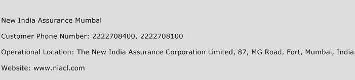 New India Assurance Mumbai Phone Number Customer Service