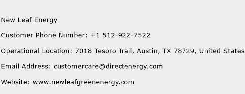 New Leaf Energy Phone Number Customer Service