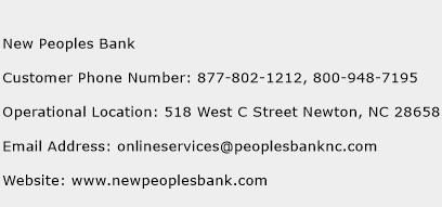New Peoples Bank Phone Number Customer Service