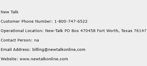 New Talk Phone Number Customer Service