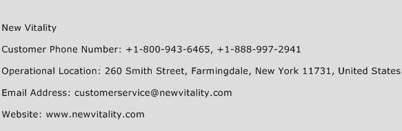 New Vitality Phone Number Customer Service