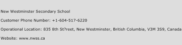 New Westminster Secondary School Phone Number Customer Service