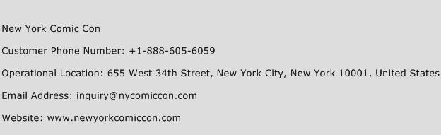 New York Comic Con Phone Number Customer Service