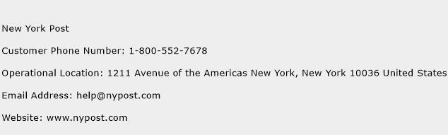 New York Post Phone Number Customer Service