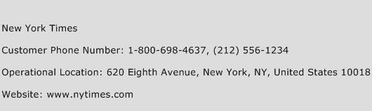 New York Times Phone Number Customer Service