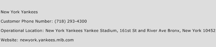 New York Yankees Phone Number Customer Service