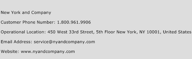 New York and Company Phone Number Customer Service