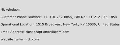 Nickelodeon Phone Number Customer Service