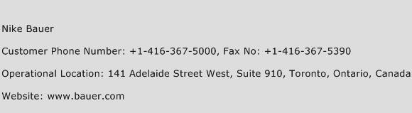 Nike Bauer Phone Number Customer Service