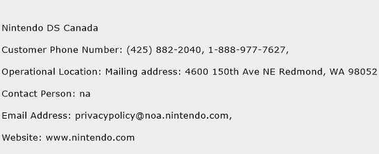 Nintendo DS Canada Phone Number Customer Service