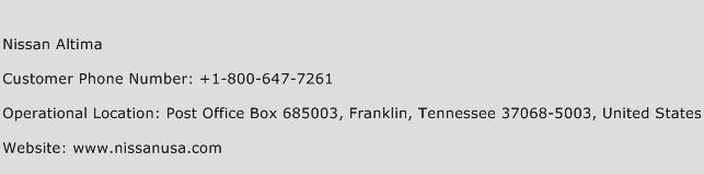 Nissan Altima Phone Number Customer Service