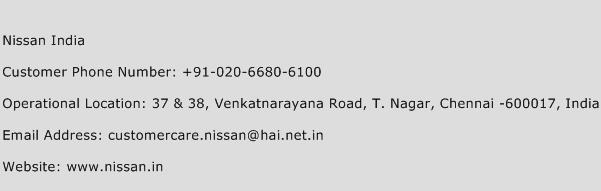 Nissan India Phone Number Customer Service