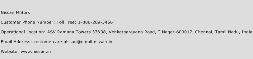 Nissan Motors Phone Number Customer Service