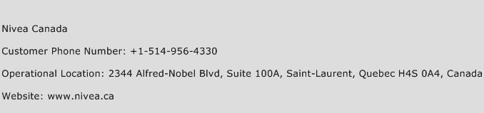Nivea Canada Phone Number Customer Service
